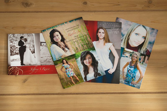 Various wedding and senior graduation postcard invitations and announcements, printed by GotPrint