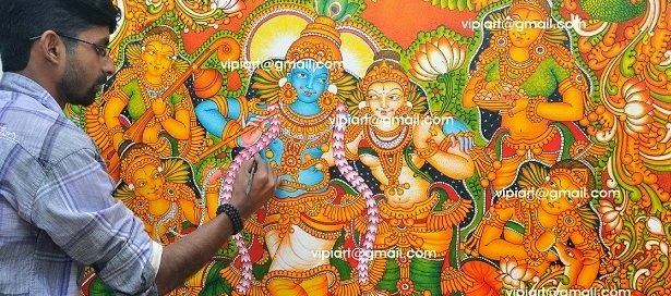 Vipin iritty artist june 2014 for Asha mural painting guruvayur