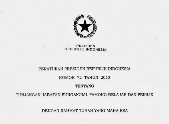 Peraturan Presiden Nomor 72 Tahun 2013 Tentang Tunjangan Jabatan Fungsional Pamong Belajar dan Penilik