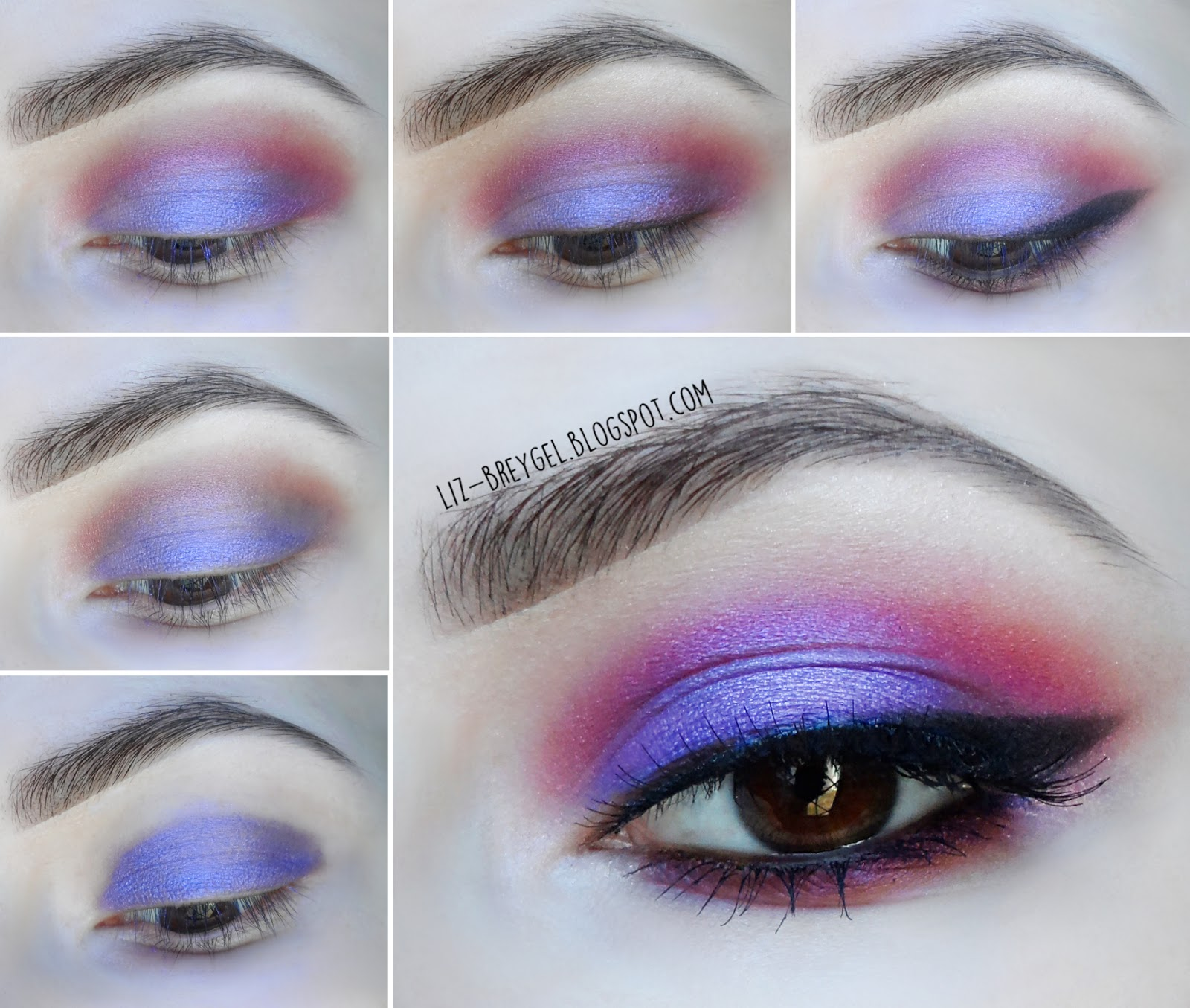 easy step by step dramatic eye makeup cat eye liner purple and red burgundy liz breygel blogger