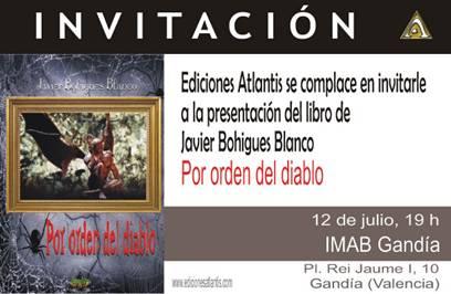 """Invitación a la presentación del libro de Javier Bohigues """"Por orden del diablo"""""""