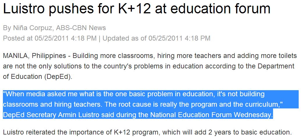 k 12 education issues in the philippines