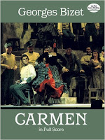 Bizet, Georges (1838-1875) Carmen [Música impresa] [opera in four acts] Georges Bizet; [libretto by Henri Meilhac and Ludovic Halévy, based on the novella by Prosper Merimée].Partitura completa. New York: Dover, 1989.