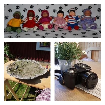 Några av mina intressen, sticka till olika hjälporganisationer, gjuta i betong och fotografera