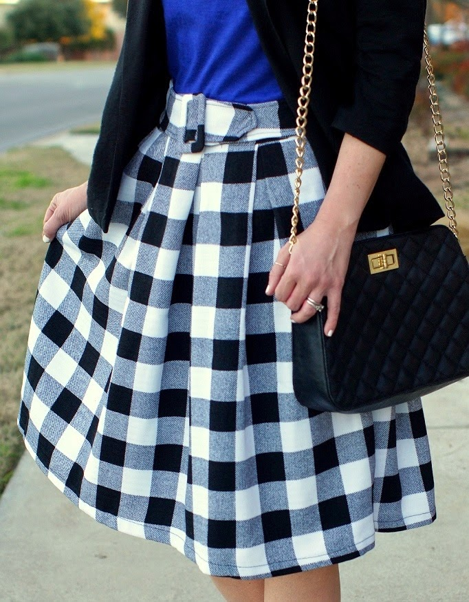retro gingham plaid flair midi skirt sheinside
