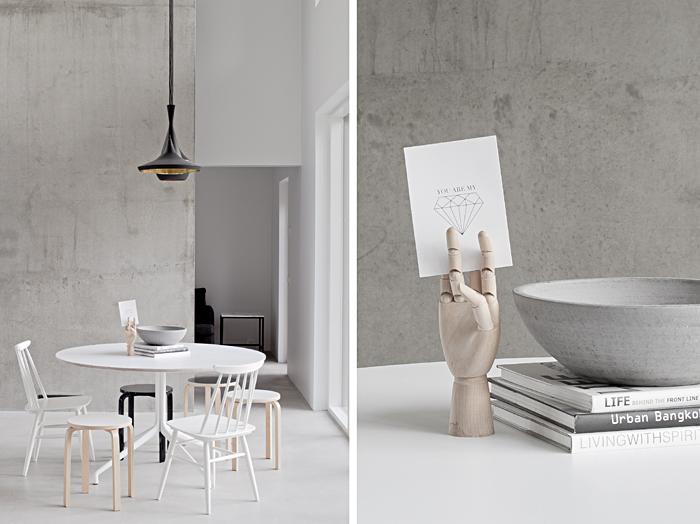 blanco, cemento, minimalista, diseño, nórdico, escandinavo, moderno, dekoloop