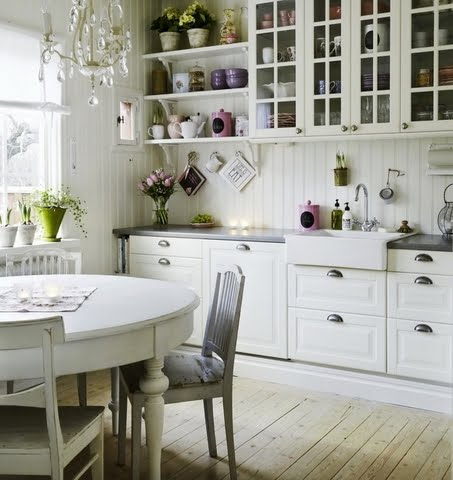 Nice white country kitchen content in a cottage for Sweet kitchen designs