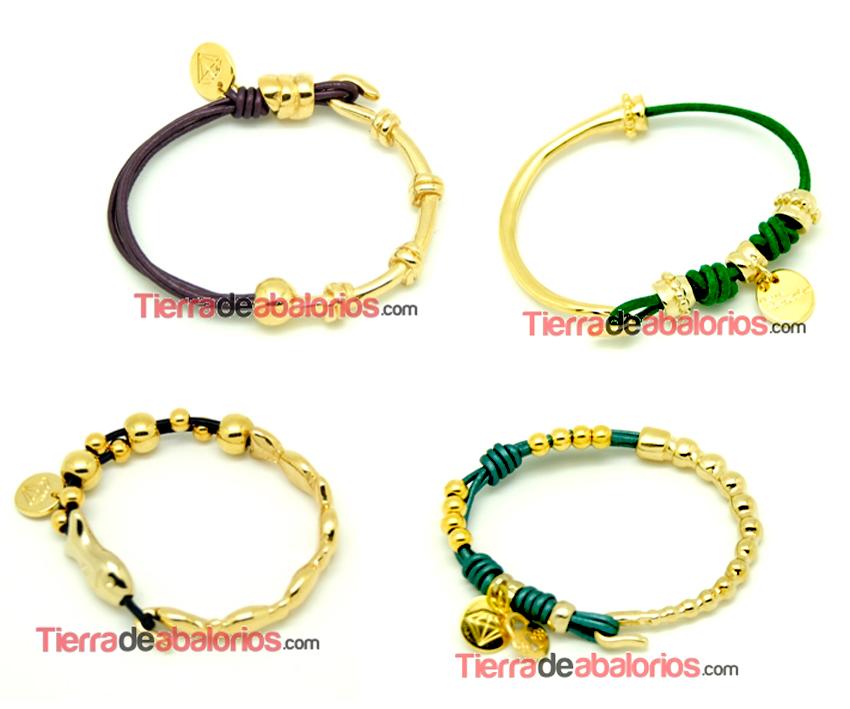 pulseras de media cana de zamak con bano de oro estas pulseras ya ...