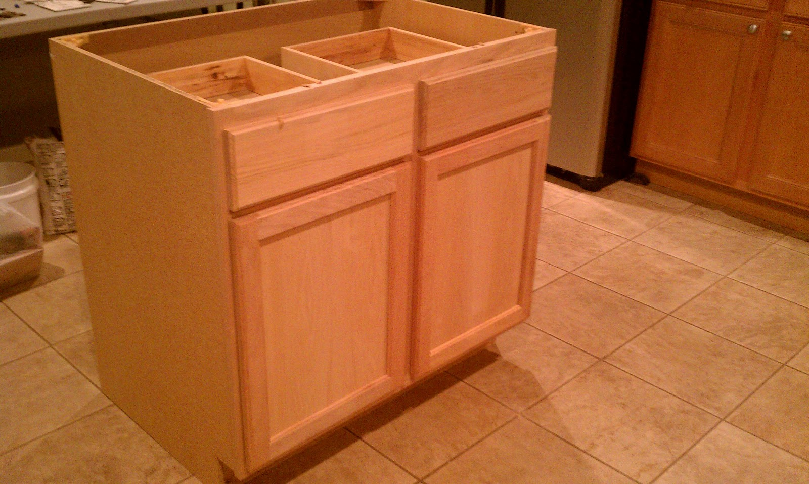 For all things creative my diy kitchen island for Build kitchen island with cabinets