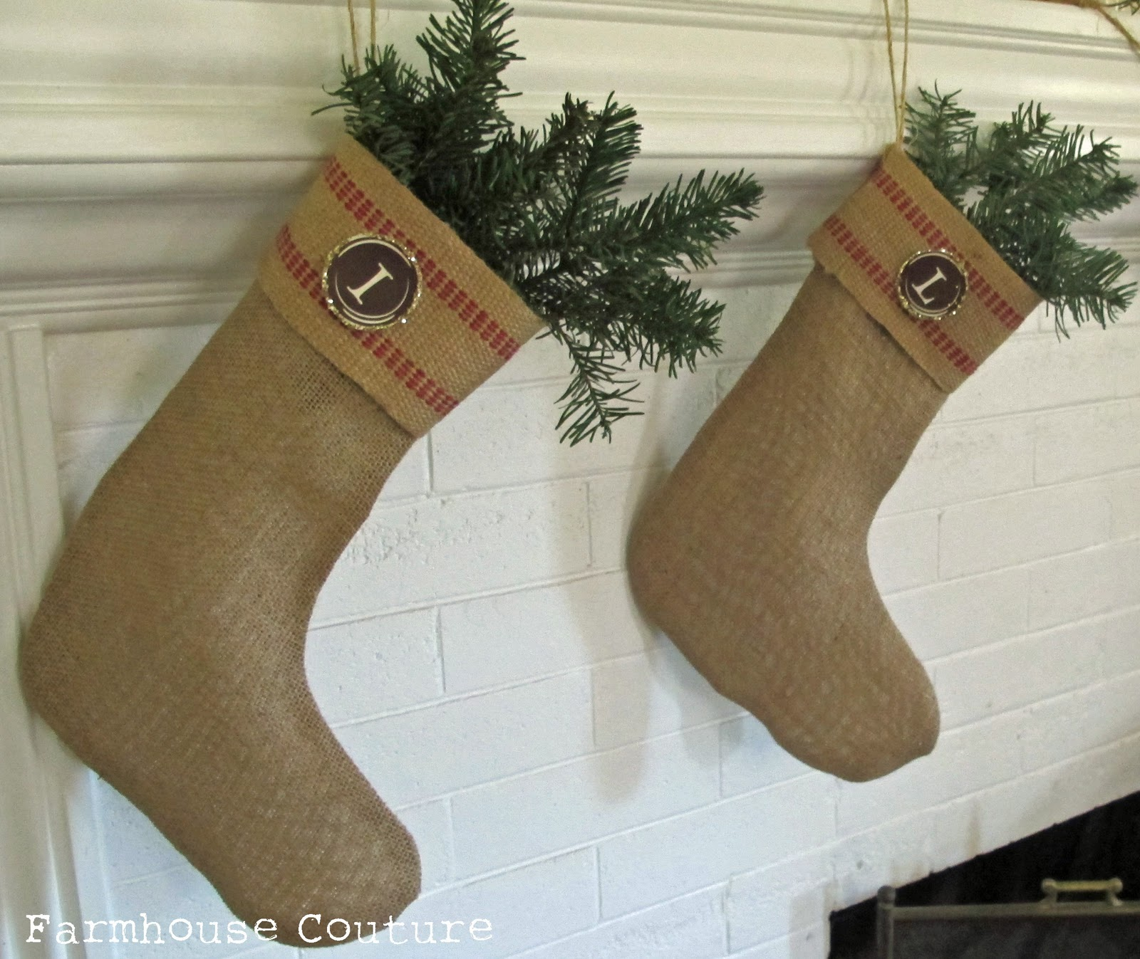 Burlap Christmas Stocking Ballard Designs Knockoff