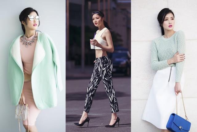 Triệu Thị Hà có lúc sành điệu với áo choàng, kính mắt mèo, khi lại thể hiện nét hiện đại khỏe khoắn với trào lưu khoe bụng cùng áo crop-top.
