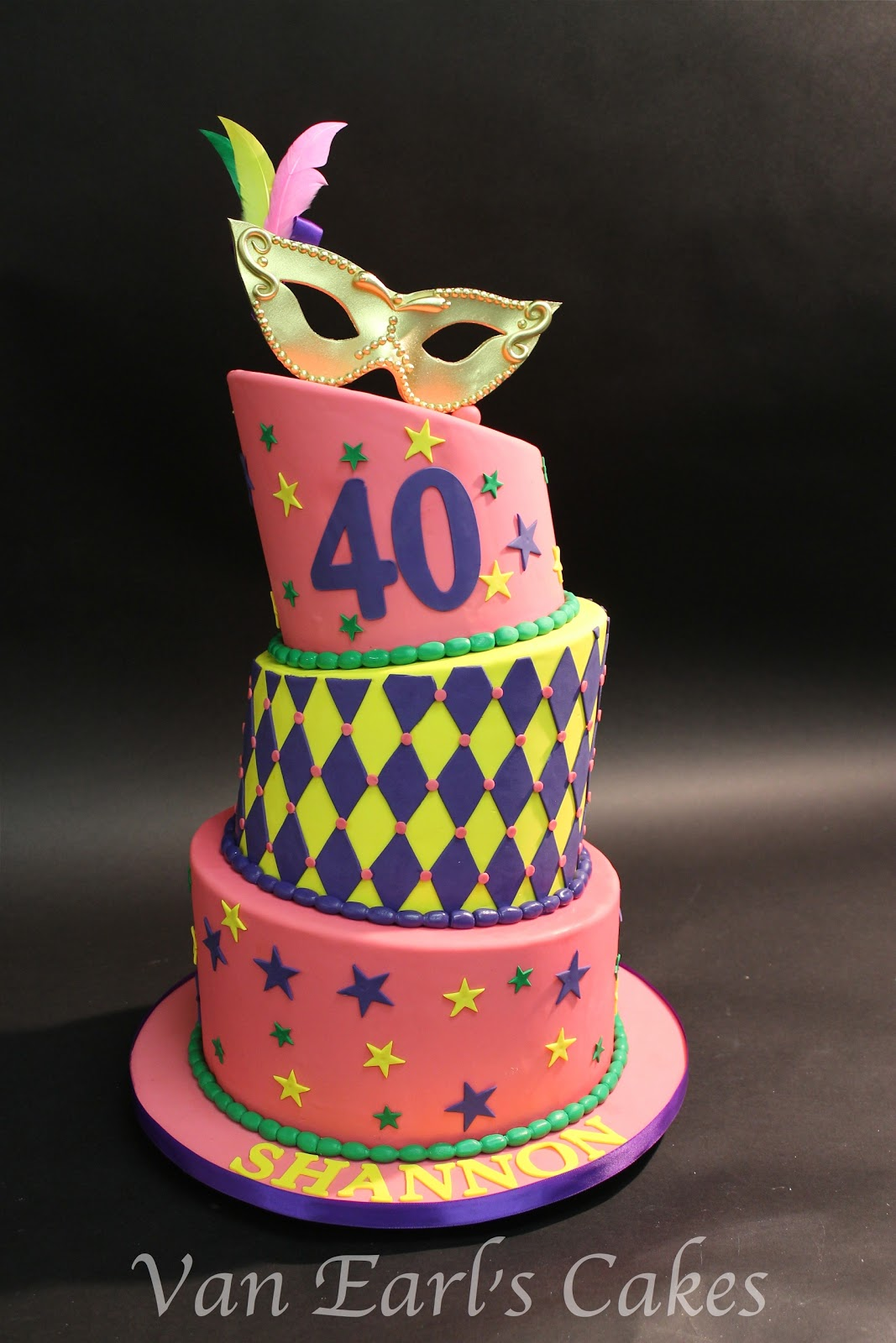 Van Earls Cakes 40th Mardi Gras Theme Birthday Cake