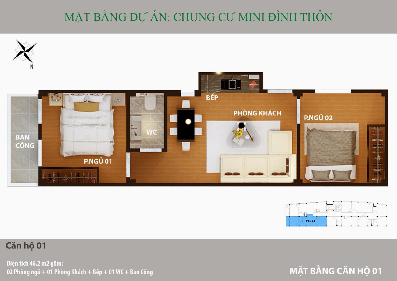 Căn hộ 2 phòng ngủ điển hình chung cư mini Mỹ Đình