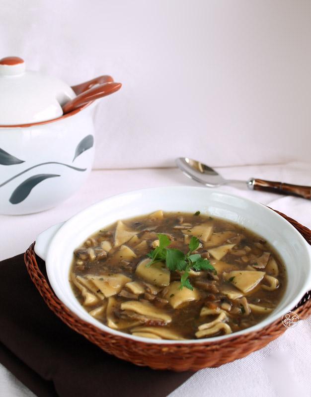 zuppa di maltagliati e funghi porcini per nutrichef