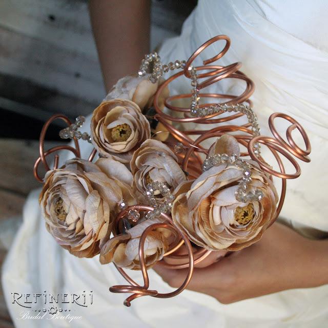 copper steampunk alternative bridal bouquet