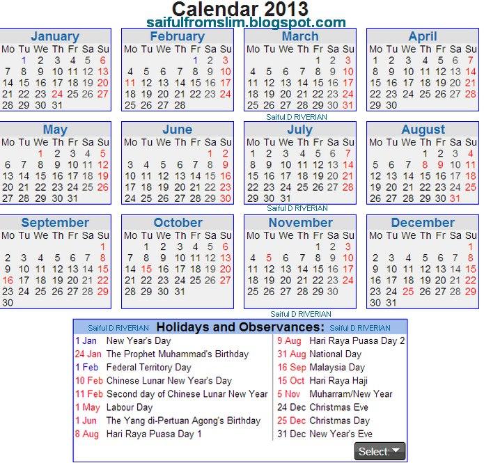 Kalender Cuti Penggal Persekolahan / Cuti Umum 2013 / Jadual Gaji