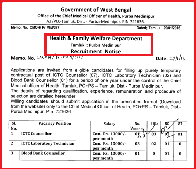 Purba Medinipur CMOH Latest Health Job Advertisement February 2016