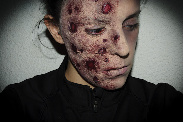 Maquillaje Halloween 7: Cara quemada, Halloween Make up 7: Burned face, efectos especiales, special effects, Silvia Quirós