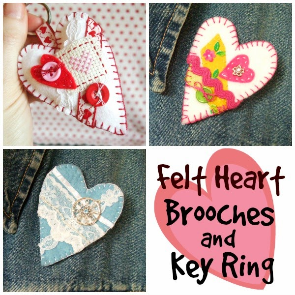 Felt heart Brooch and Key Ring