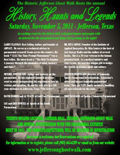 Jefferson Texas Ghost Walk http://blog.bedandbreakfastjeffersontx.com/2011/11/annual-history-haunts-and-legends.html
