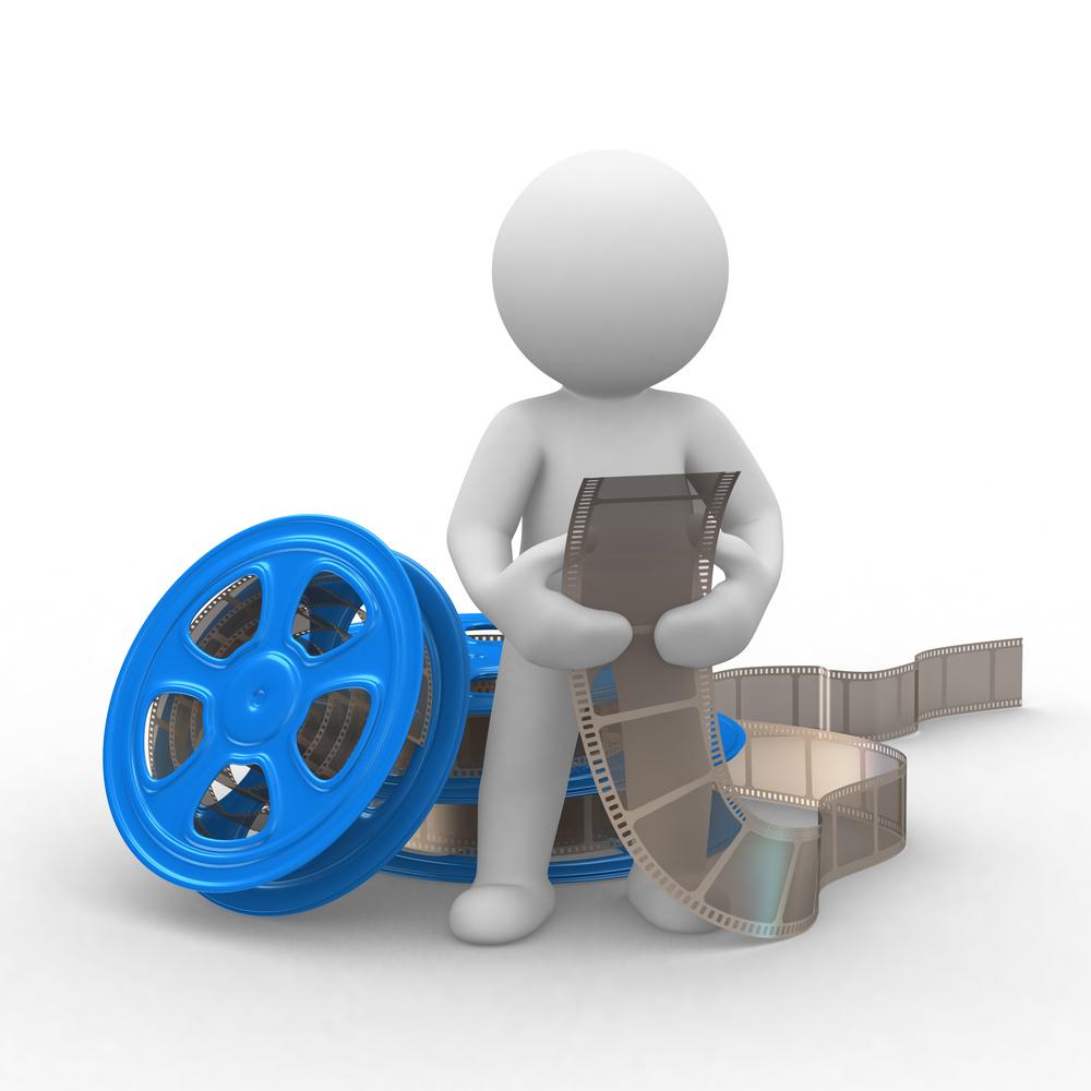 cartoon stick figure working with film