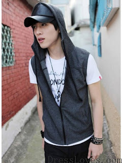 Men Grey Zipper Cotton Vest With Cap