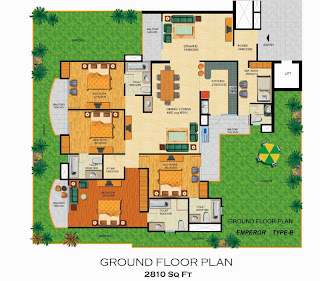 Emerald Court :: Floor Plans,Emperor - Type B:-Ground Floor4 Bedrooms, 4 Toilets, Kitchen, Dining, Drawing, 4 Balconies, lounge, Private Lawn Servant Room with Toilet Area - 2810 Sq. Ft.