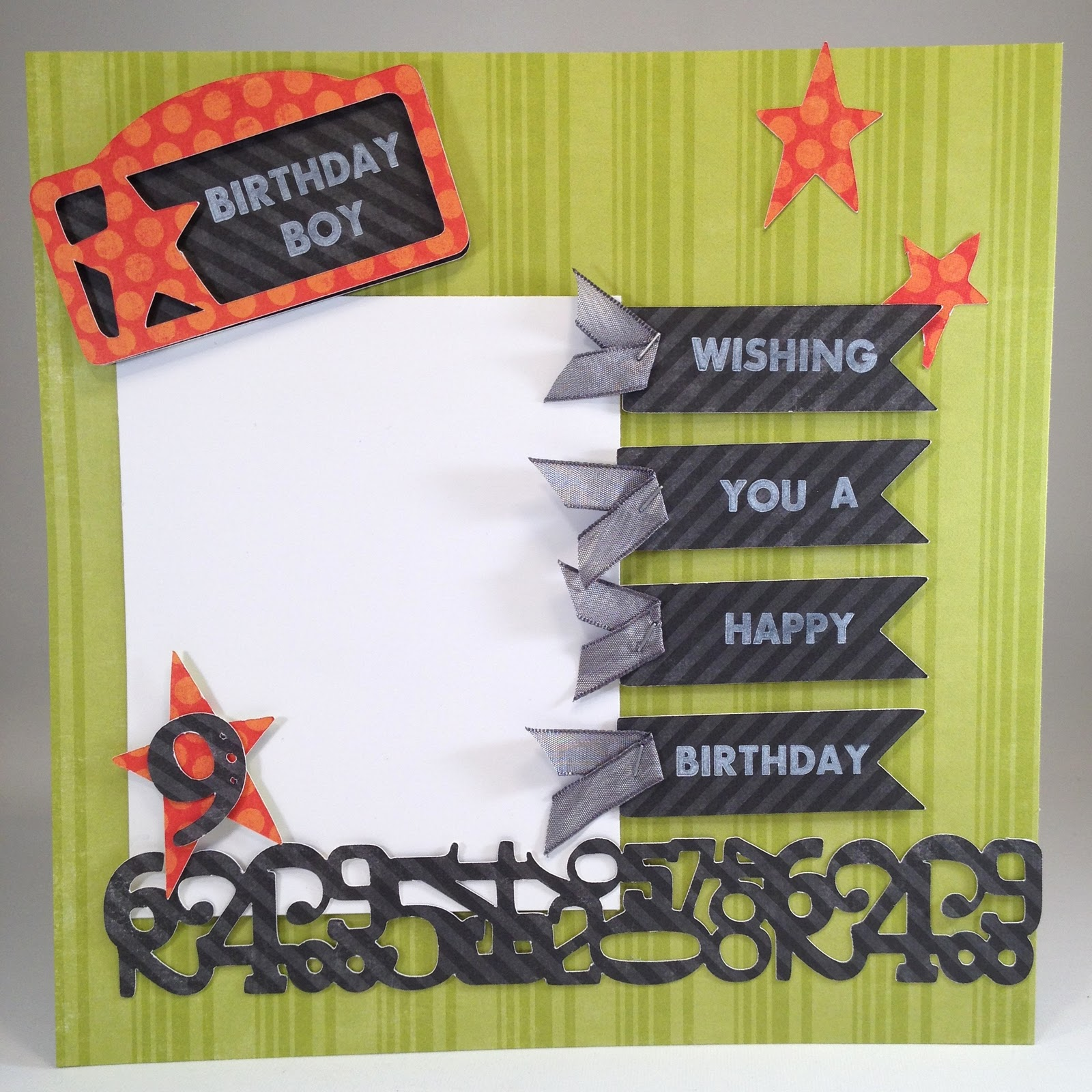 How to scrapbook 8x8 layouts - Birthday Boy Scrapbook Page My Pink Stamper Pinkalicious Blog Hop November