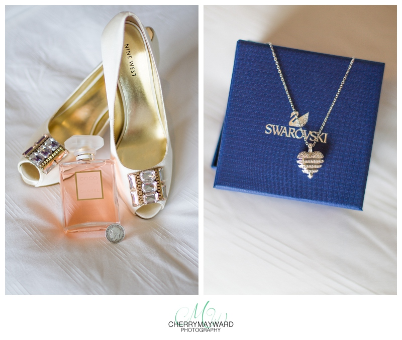 wedding details, shoes, parfume and bridesmaids gift