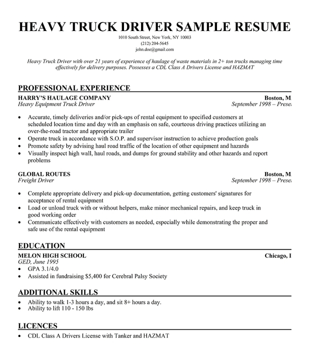 truck driver resume template australia formal delivery sample license certifications go otr examples semi