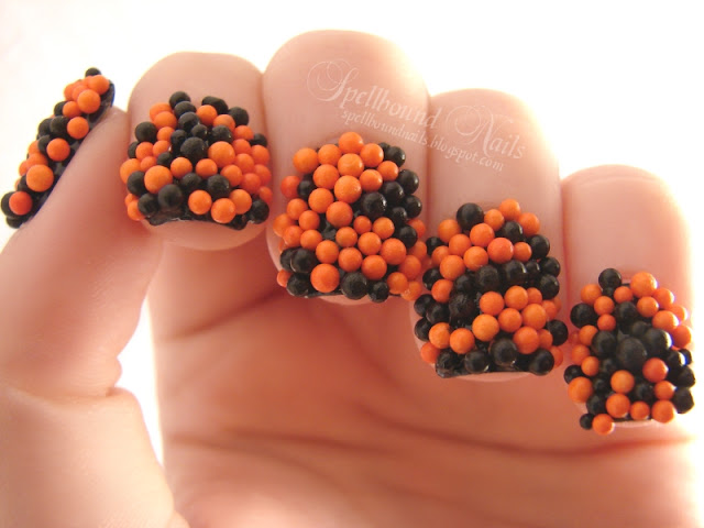 nails nailart nail art polish mani manicure Halloween Spellbound Nail-Aween Trick or Treat sprinkles candy orange black L.A. Colors Wilton