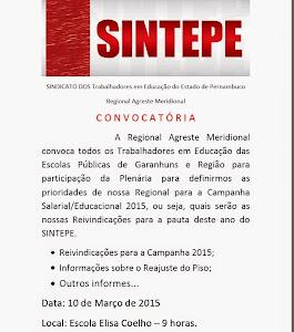 Plenária para Reivindicações .da Campanha SALARIAL/EDUCACIONAL - 2015
