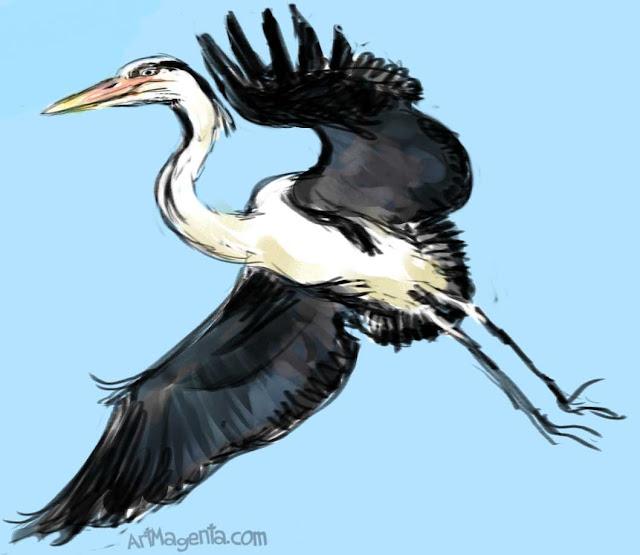 Grå Häger år en fågelmålning av ArtMagenta