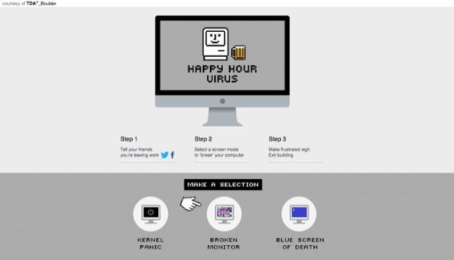 Vírus falso simula erro no PC para liberar funcionário mais cedo para o Happy Hour