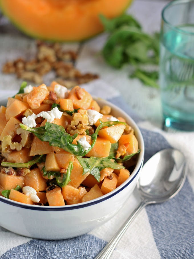 Savory Cantaloupe Salad, shared by Honey and Birch at www.The-Chicken-Chick.com