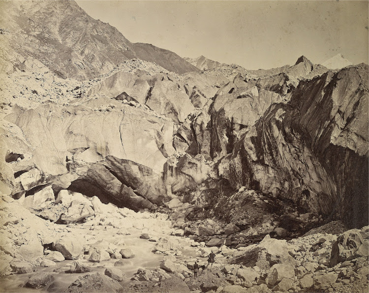 Gomukh, Origin of Bhagirathi River and Terminus of Gangotri Glacier In Himalayas - 1860's