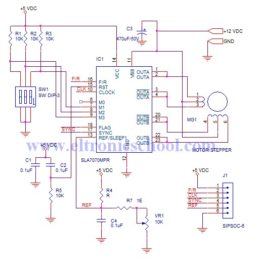 Circuit schematic unipolar stepper motor driver using Step motor driver circuit