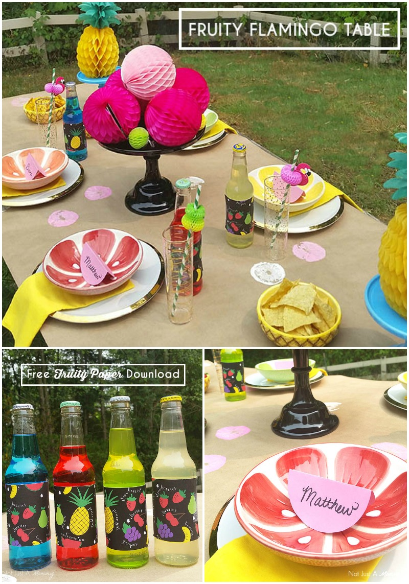 Fruity Flamingo Party Table with a free fruity paper download