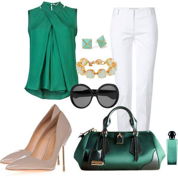 White pants, sunglasses, high heel shoes and hand bag for ladies