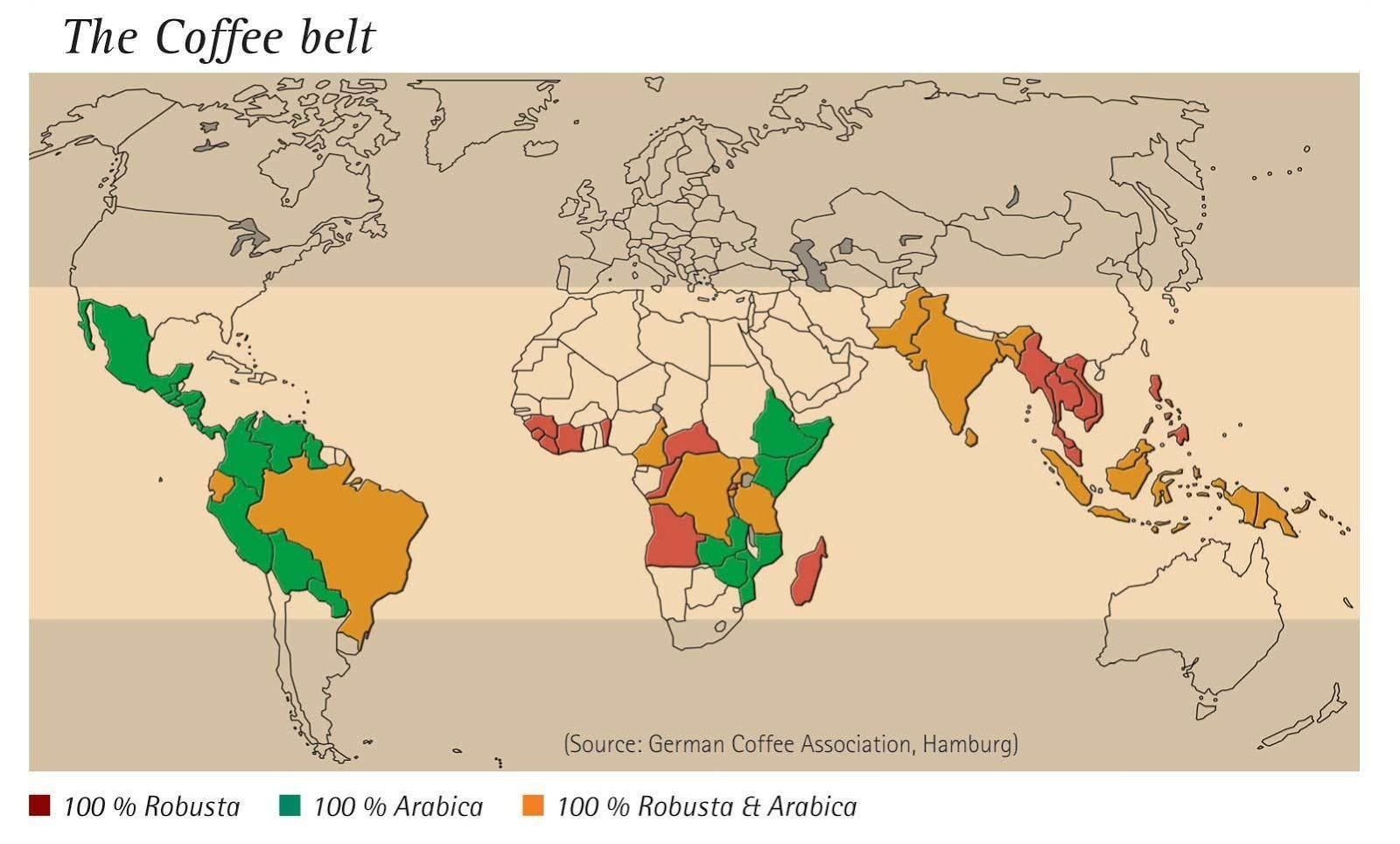 The Bean Belt is an imaginary line that covers coffee-growing regions in Central, South America, Africa, and Asia.