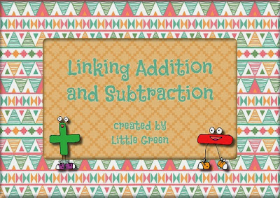 http://www.teacherspayteachers.com/Product/Linking-Addition-and-Subtraction-Ideas-Math-Centers-and-Worksheets-994335