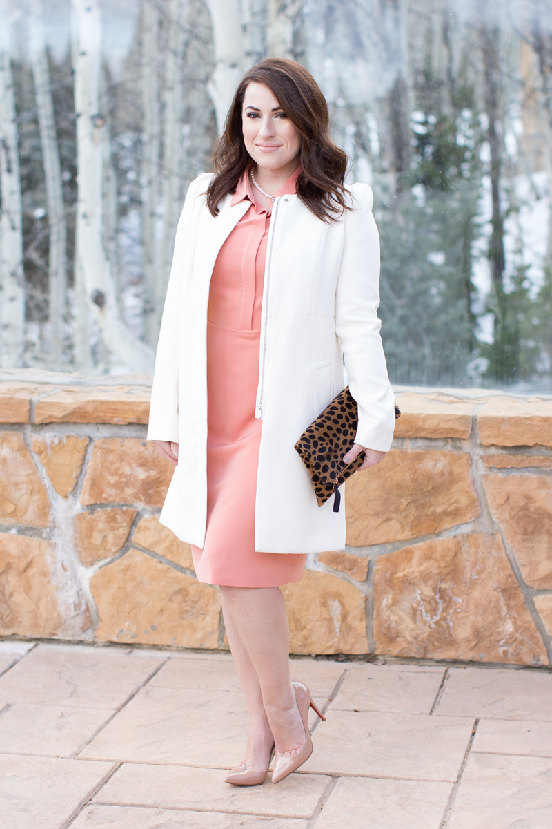 christian louboutin nude pigalle pumps, pink piol dress, white coat