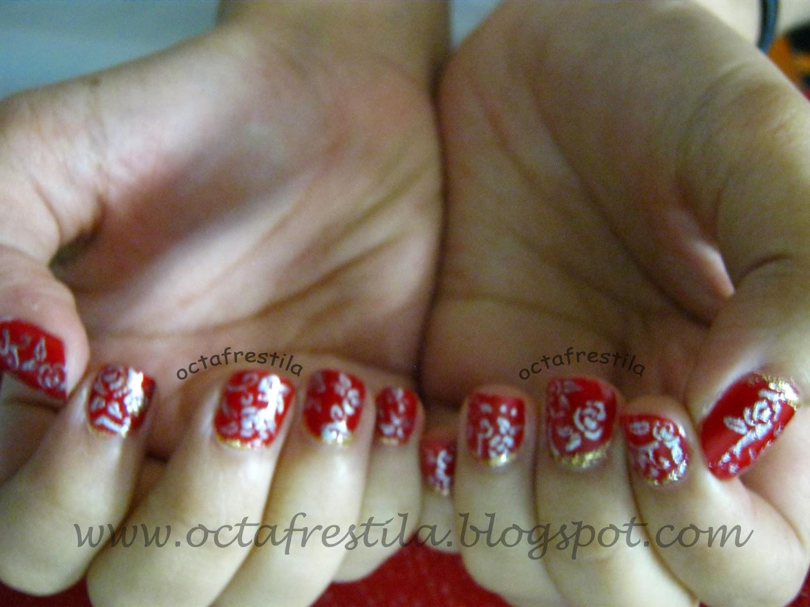 Octafrestila - Nail & Face ART: Red Silver Rose Nails (for tiny nails)