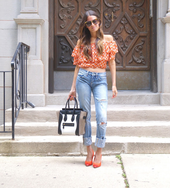 Off the shoulder top: maia off the shoulder top - Nordstroms // jeans: Blank NYC boyfriend jeans // bag: Celine // Sunglasses: Karen Walker - The Number one Sunglasses // Shoes: similar {here}