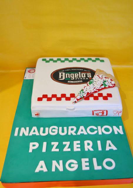 tarta Caja de Piza inauguracion Pizzeria Angelo CAstello de Rugat sugardreams gandia