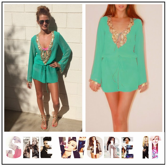 Millie Mackintosh, Prodiga, Aqua Green, Beachwear, Kaftan, Deep V-Neck, Gold Embellishment, Coachella, Festival Fashion