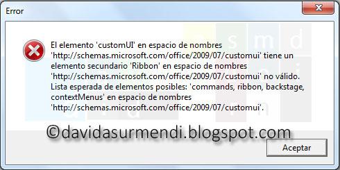 Mensaje de error al validar el código XML