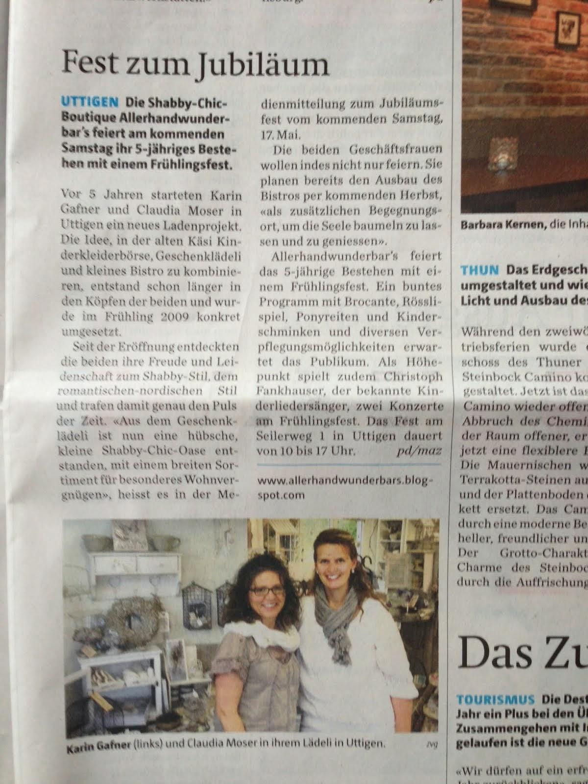 Die Lädelidamen im Thuner Tagblatt 15.5.14