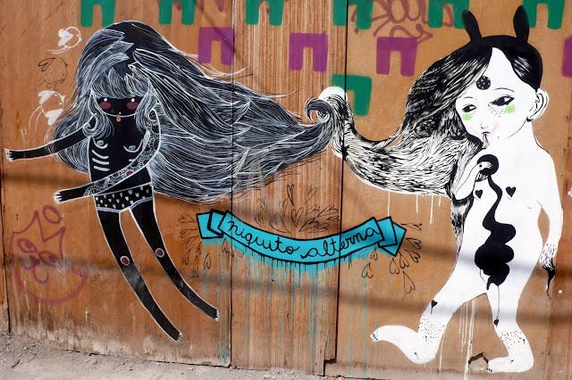 graffiti street art in bellavista and patronato, santiago de chile