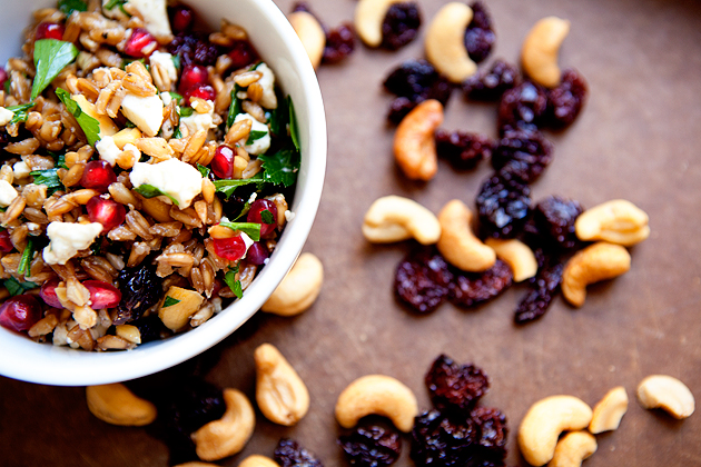 farro salad with cashews and dried fruit.